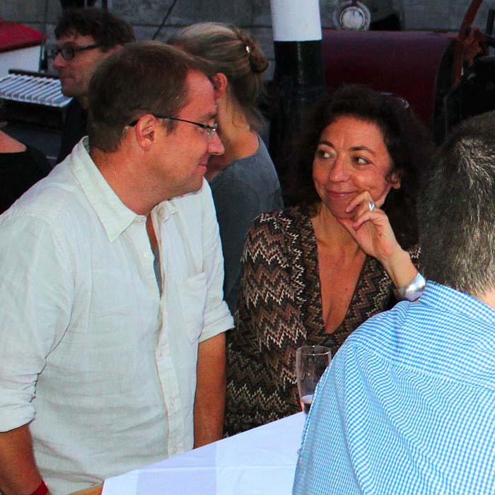 Uwe Lorenz und Ina Schacht beim Sommerfestvon Wolfgang Beinert und den Berliner Gestalten am 23. August 2013 im Historischen Hafen von Berlin.