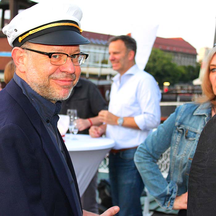 Christhard Landgraf und Caren Witte beim Sommerfestvon Wolfgang Beinert und den Berliner Gestalten am 23. August 2013 im Historischen Hafen von Berlin.