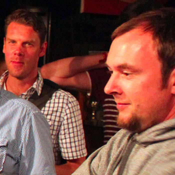 Marc Klein und Thomas Richter beim Sommerfestvon Wolfgang Beinert und den Berliner Gestalten am 23. August 2013 im Historischen Hafen von Berlin.