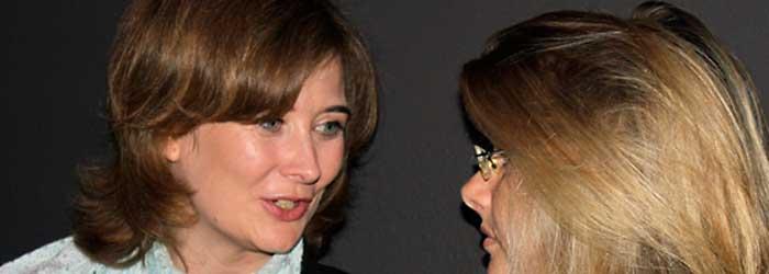 Christine Aufderhaar (Filmkomponistin, Berlin) und Alexandra Hölzer (Medienanwältin, Berlin) im Gespräch.