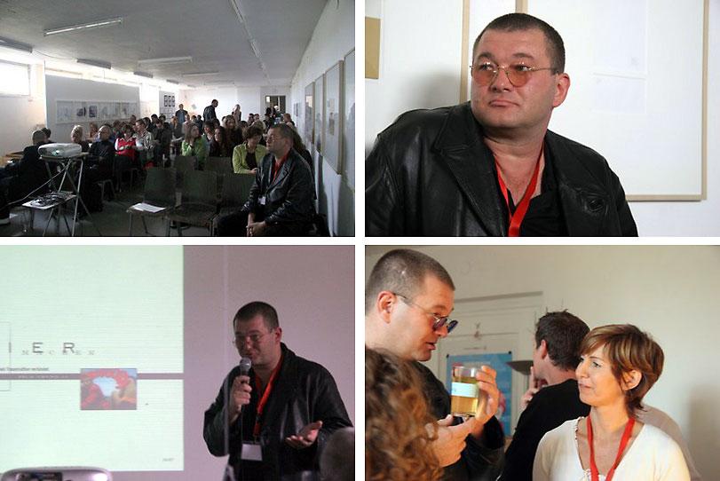 Die erste »dere:05« Grafikdesignschau Regensburgam 10.09.2005.Im Bild: Stefanie Wiesinger und Wolfgang Beinert im Regensburger Kunstverein Graz.