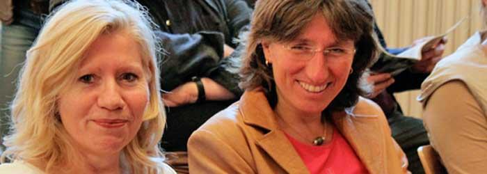 Zwei gut gelaunte Kolleginnen: Helga Lieser und Susanne Babst