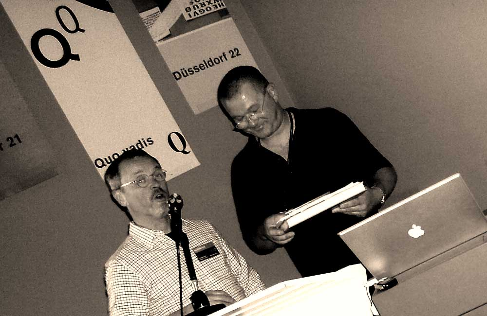 Prof. Jay Rutherford und Wolfgang Beinert in Weimar am Samstag, 19.9.2009 auf dem 24. Forum Typografie »bauhaus hoch n« an der Bauhaus-Universität Weimar.