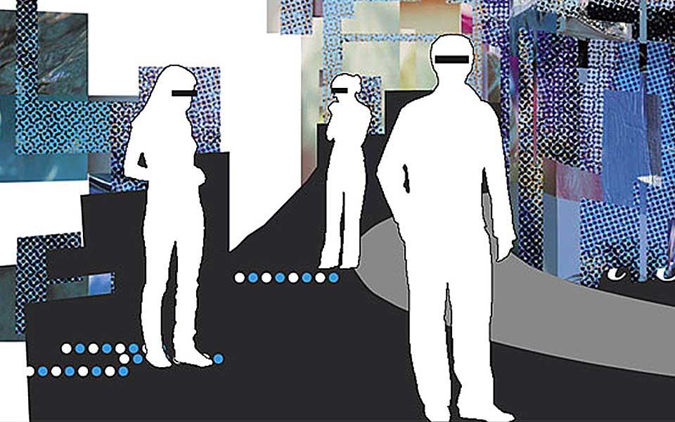 Illustration von Nicole Glur, Studentin bei Wolfgang Wick in Freiburg, für den Essay »Über Folterkeller in München, Baby-Designer und einen teuflischen Gott« von Wolfgang Beinert im Designmagazin »Zwiebelfisch«, Ausgabe September 2004.