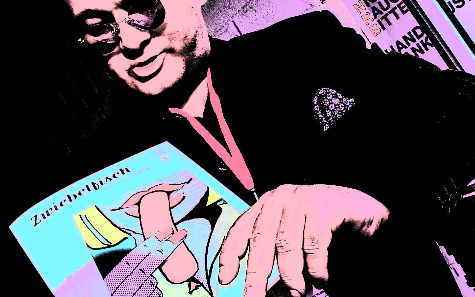 Der Grafikdesigner und Typograf Wolfgang Beinert als Testimonial für den Zwiebelfisch, ein studentisches Magazin für Gestaltung der Freien Hochschule für Grafik-Design und Bildende Kunst in Freiburg.
