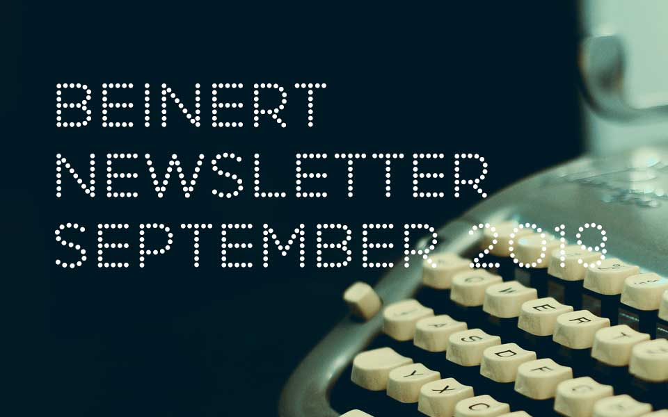 Wolfgang Beinert | Newsletter : September 2019