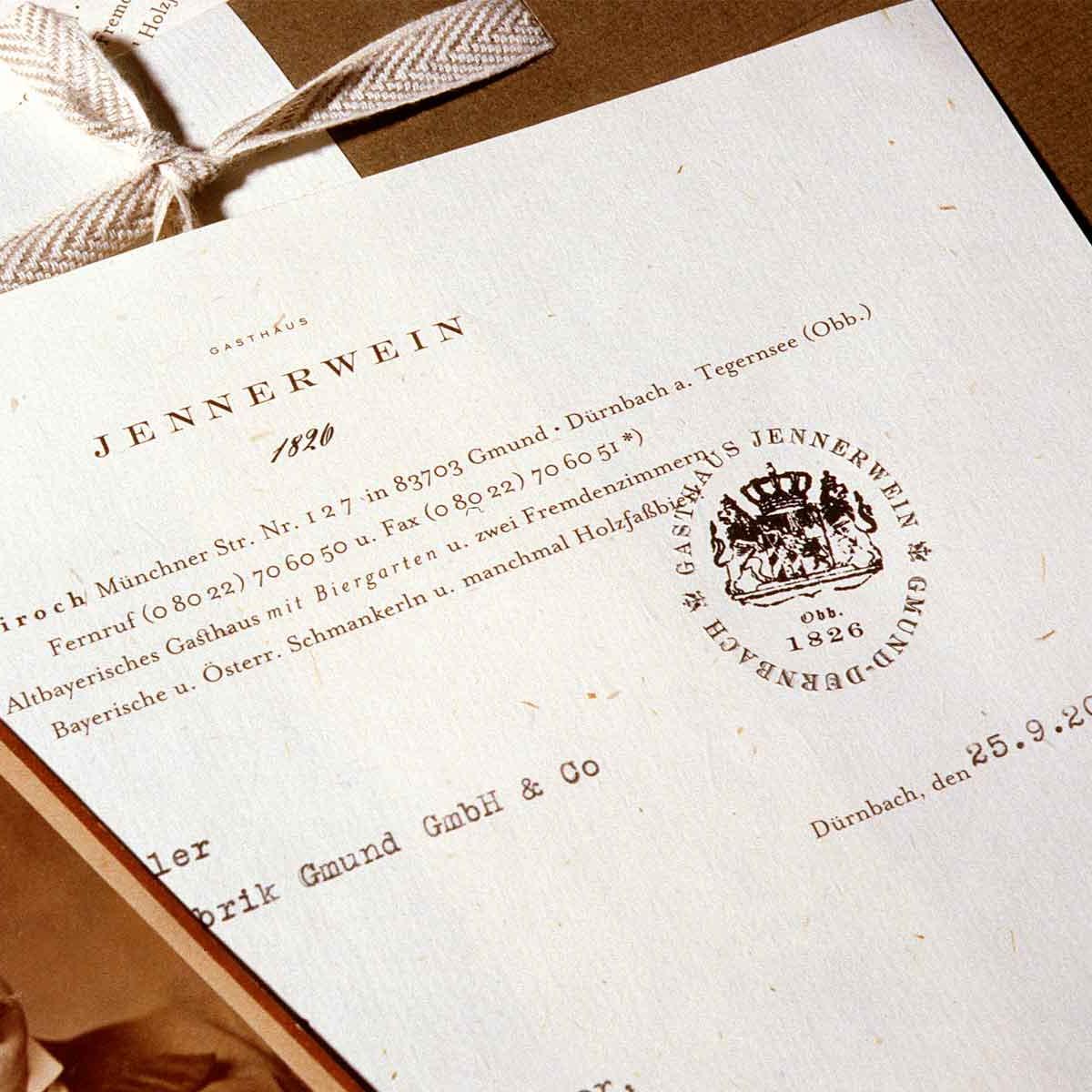 Gmund Papier, Briefpapier »Gasthof Jennerwein«.