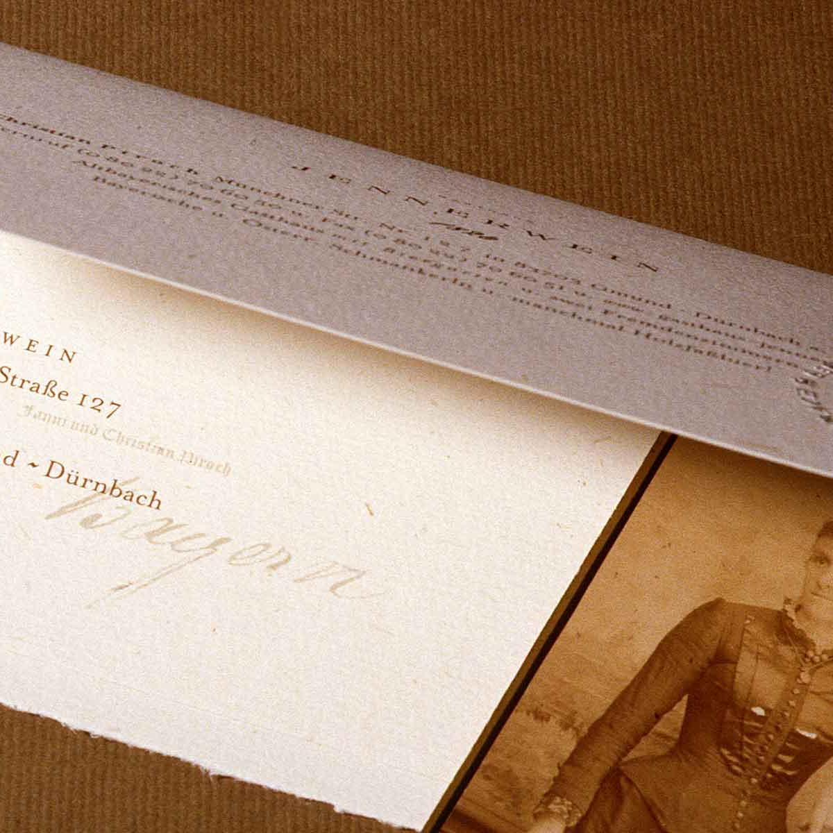 Gmund Papier, Einladungskarte »Gasthof Jennerwein«.