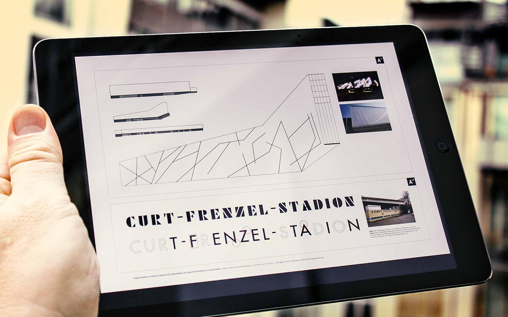 Stadt Augsburg, Curt-Frenzel-Stadion, Vergleich alter und neuer Schriftzug.
