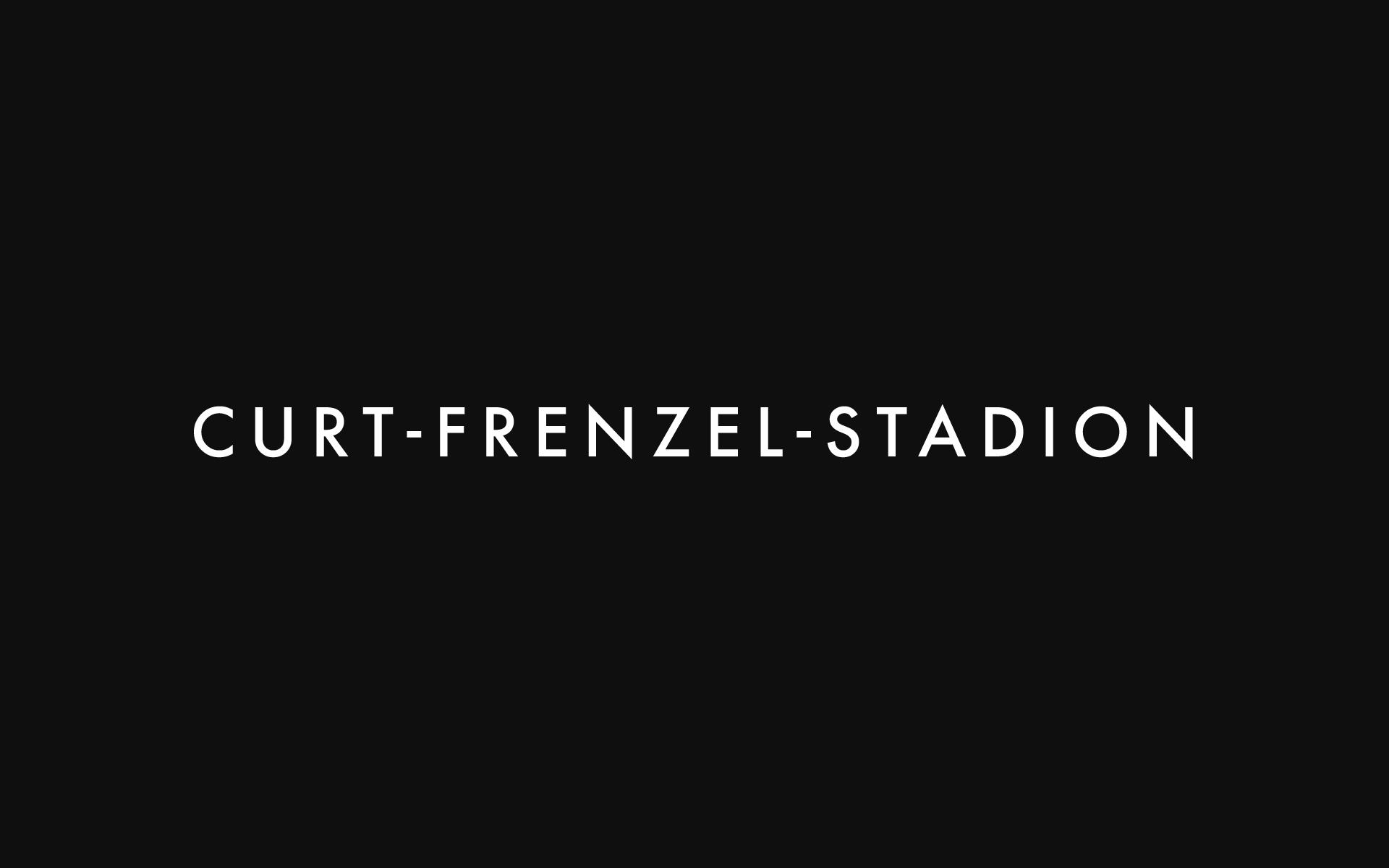 Stadt Augsburg, Schriftzug Curt-Frenzel-Stadion.