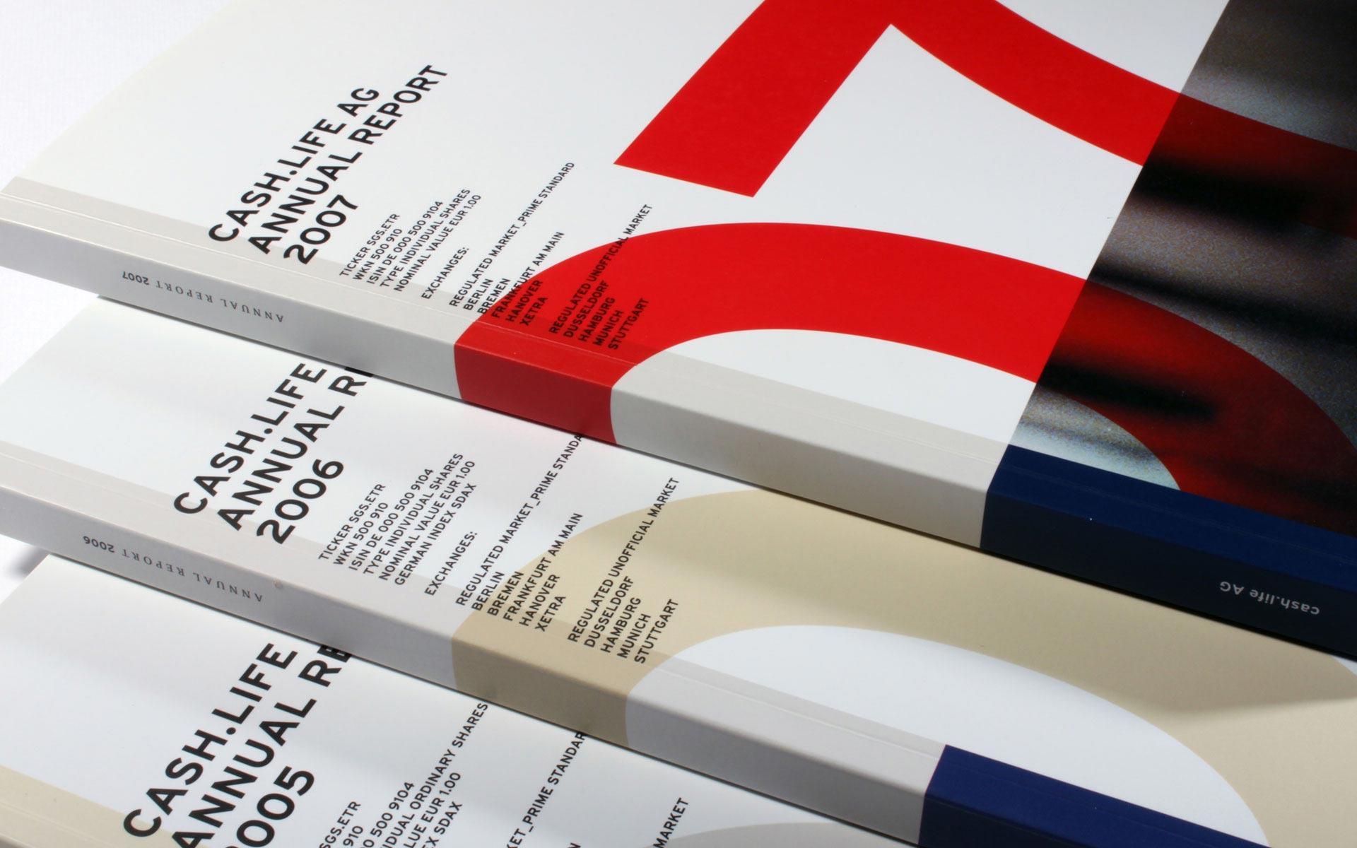 cash.life, Titel (U1) der Geschäftsberichte 2005–2007 in englischer Sprache.