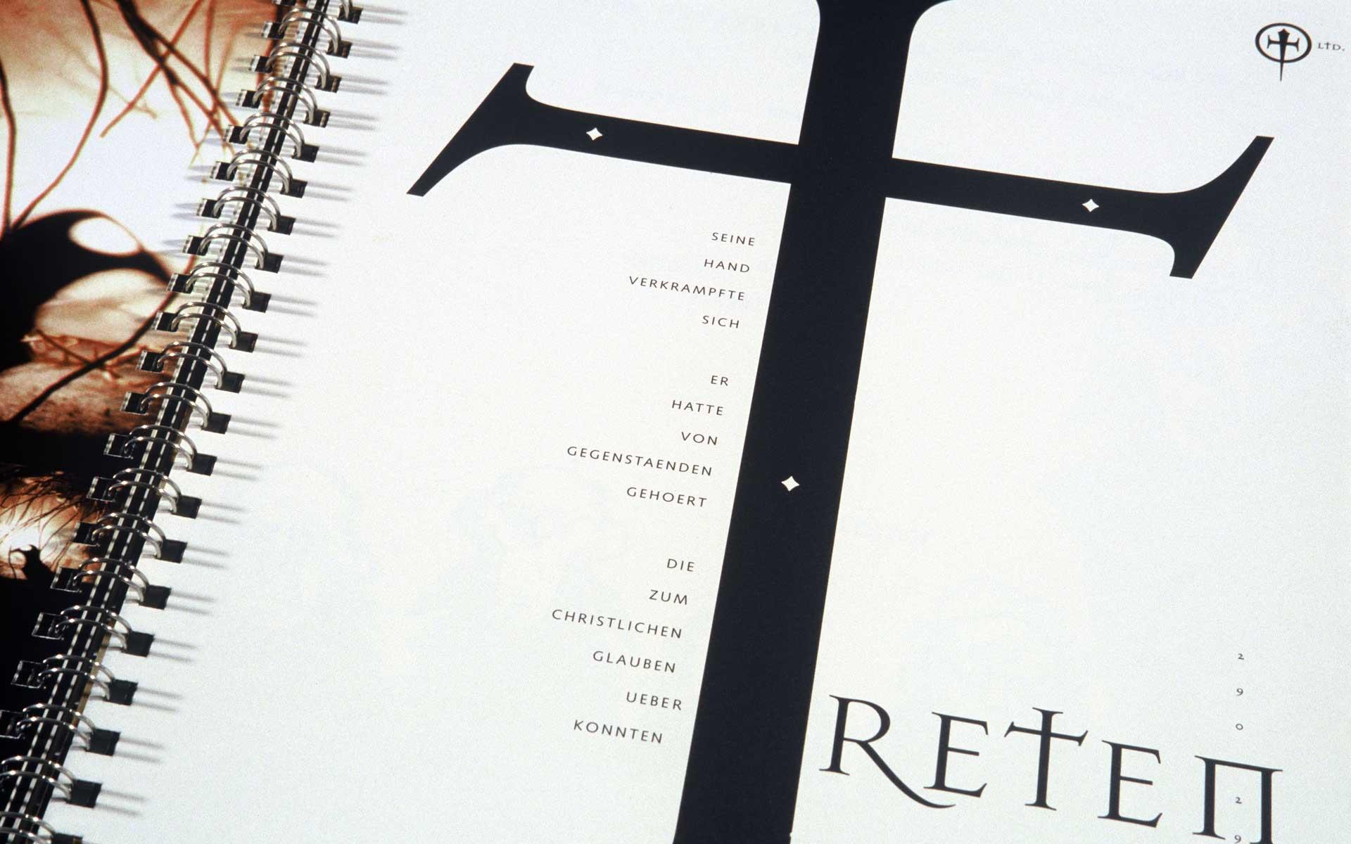 Designmagazin Ausdruck, typografische Gestaltunng einer Innenseite (Detail) mit den Fonts »Mason« (1992) von Jonathan Barnbrook und »Syntax« (1968) von Hans Eduard Meyer.