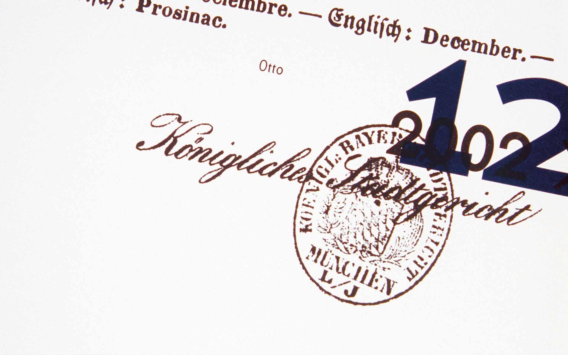 Münchener Hypothekenbank, Kalender »König Ludwig II. von Bayern«. Detail aus dem Kalenderblatt Dezember.